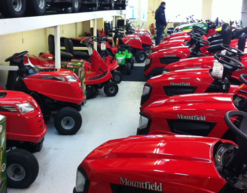 Visit our large showroom to see our extensive range of ride on and walk behind lawnmowers.